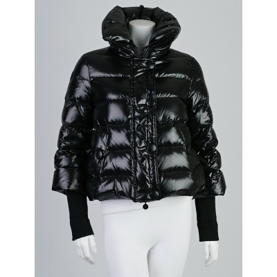 Moncler Black Quilted Nylon and Wool Trim Down Jacket Size 0/XS