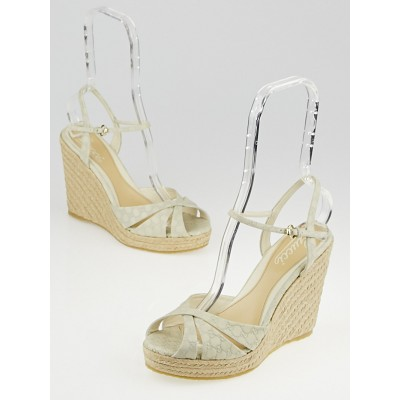 Gucci White Microguccissima Leather Penelope Espadrille Wedges Size 8/38.5