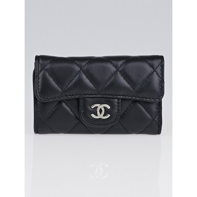 Chanel Black Quilted Lambskin Leather Multicles 6 Key Holder