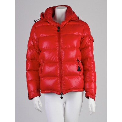 Moncler Red Quilted Nylon Down Maya Jacket Size 0/XS