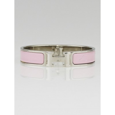 Hermes Light Pink Enamel Palladium Plated Clic H PM Narrow Bracelet