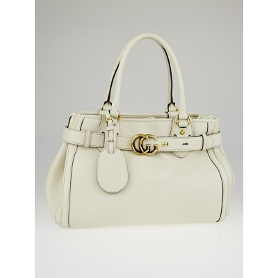 Gucci White Smooth Leather GG Running Medium Tote Bag