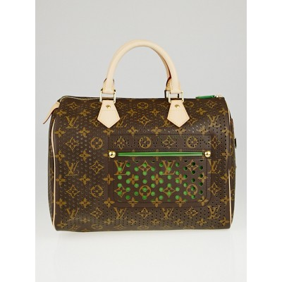 Louis Vuitton Limited Edition Green Monogram Perforated Speedy 30 Bag
