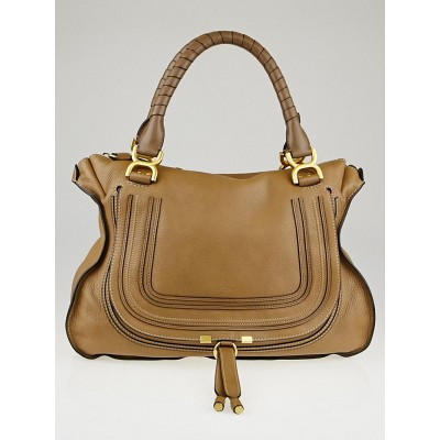 Chloe Nut Brown Pebbled Leather Large Marcie Satchel Bag
