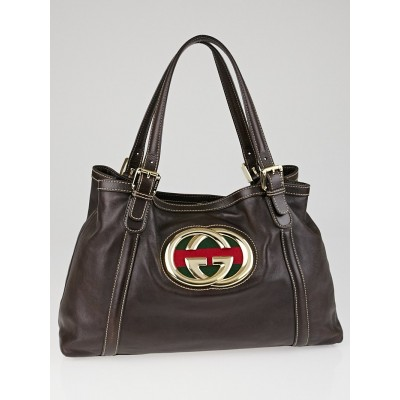 Gucci Dark Brown Leather Britt Medium Tote Bag