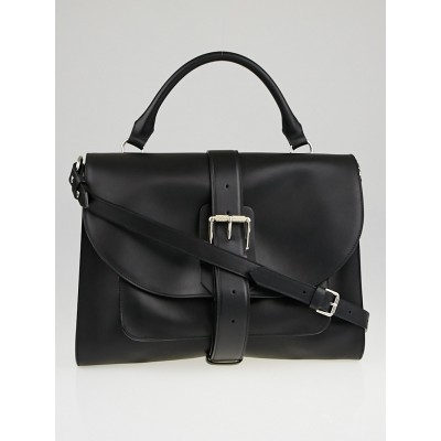 Proenza Schouler Black Leather Ciclone Top Handle Buckle Satchel Bag