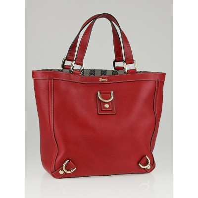 Gucci Red Leather Abbey Medium Tote Bag