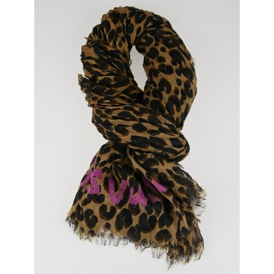 Louis Vuitton Brown Cashmere/Silk Stephen Sprouse Leopard Stole Scarf