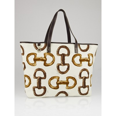 Gucci Bamboo Horsebit Print Canvas Tote Bag