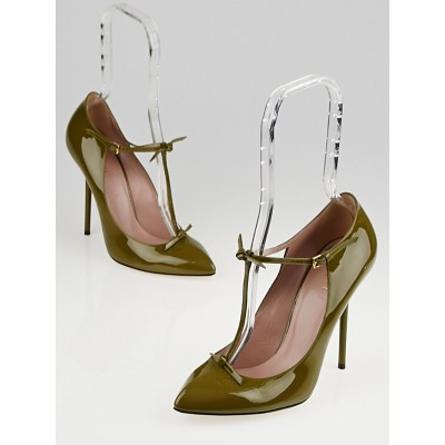 Gucci Olive Green Patent Leather Beverly T-Strap Pumps Size 7.5/38