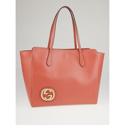 Gucci Pink Smooth Leather GG Large Tote Bag
