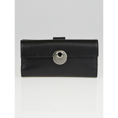 Gucci Black Leather Continental Flap Wallet