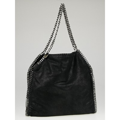 Stella McCartney Black Shaggy Deer Faux-Leather Falabella Small Tote Bag