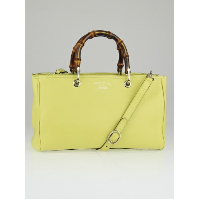 Gucci Yellow Pebbled Leather Bamboo Top Handle Medium Tote Bag