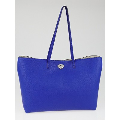 Fendi Blue Neon Selleria Leather Medium Carla Tote Bag 8BH254