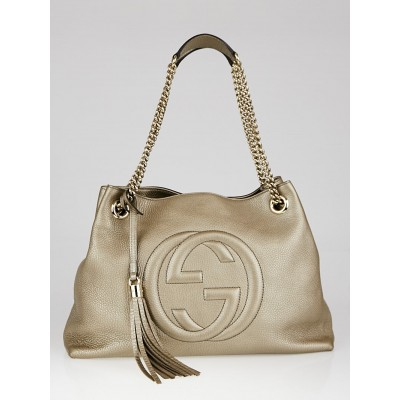 Gucci Gold Pebbled Leather Soho Chain Tote Bag