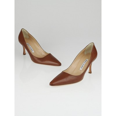 Manolo Blahnik Cognac Leather Alex Pointed Toe Pumps Size 11 / 41.5