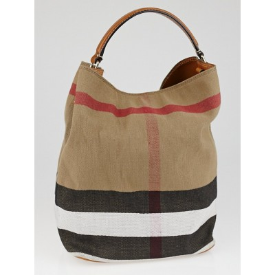 Burberry Saddle Brown Canvas Check Medium Susanna Hobo Bag