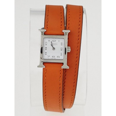 Hermes Orange Swift Leather and Stainless Steel Double Tour Heure H PM Quartz Watch