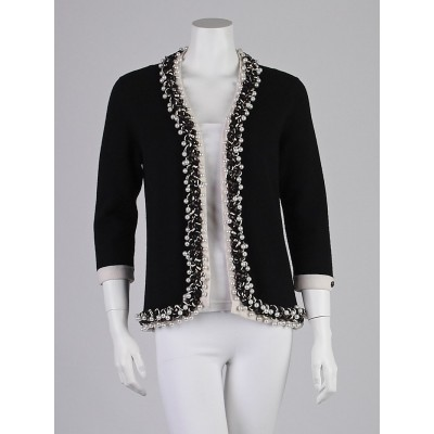 Chanel Black Cashmere and Glass Pearl Cardigan Sweater Size 8/40