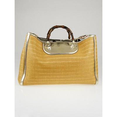Gucci Natural Raffia and Leather Bamboo Top Handle XL Tote Bag