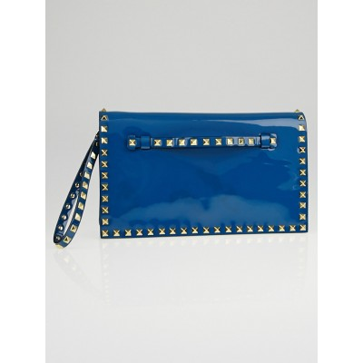 Valentino Blue Patent Leather Rockstud Clutch Bag
