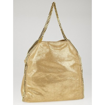 Stella McCartney Champagne Shaggy Deer Faux-Leather Falabella Big Tote Bag