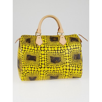Louis Vuitton Limited Edition Yellow Yayoi Kusama Monogram Town Speedy 30 Bag
