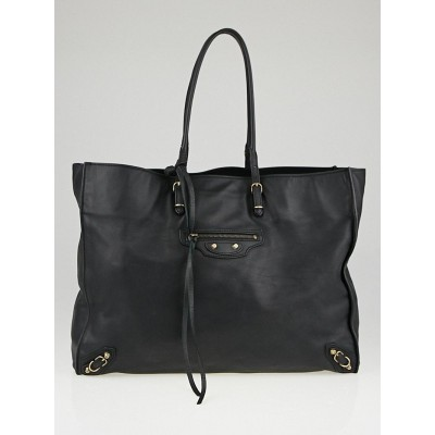 Balenciaga Black Calfskin Leather Papier A4 Tote Bag