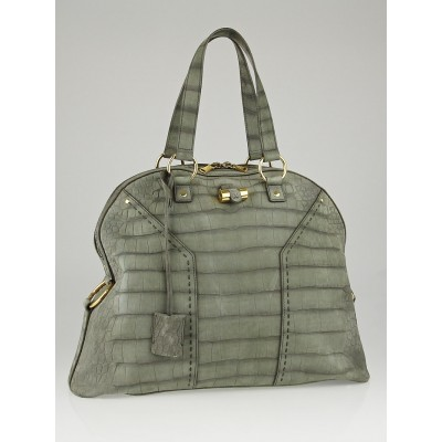 Yves Saint Laurent Grey Croc Embossed Suede Oversized Muse Bag