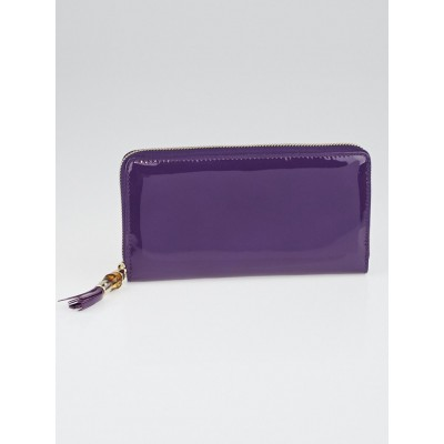 Gucci Purple Patent Leather Bamboo Zippy Wallet