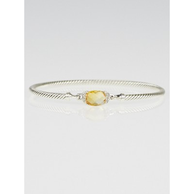 David Yurman Sterling Silver Citrine and Diamond Petite Wheaton Bracelet