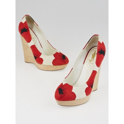 Yves Saint Laurent Poppy Print Canvas Maryna Cork Wedges Size 5.5/36