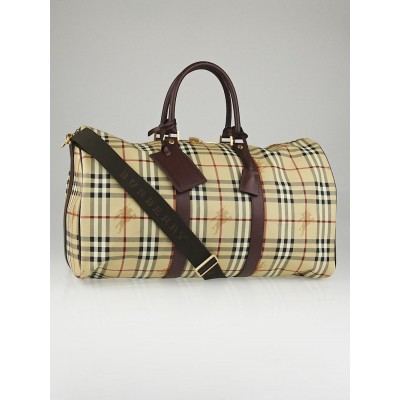 Burberry Brown Leather and Haymarket Check Coated Canvas Travel Duffel Bag