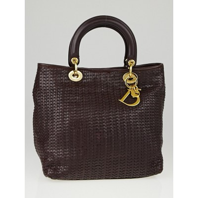 Christian Dior Burgundy Woven Leather Medium Soft Lady Dior Tote Bag