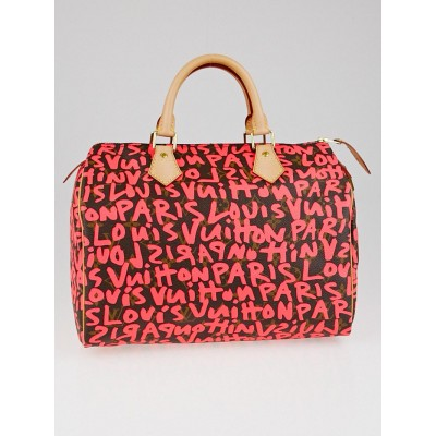 Louis Vuitton Limited Edition Fuchsia Graffiti Stephen Sprouse Speedy 30 Bag