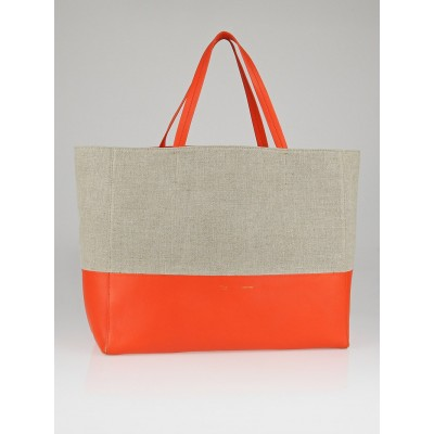 Celine Natural Linen Bright Orange Lambskin Leather Horizontal Bi-Cabas Tote Bag