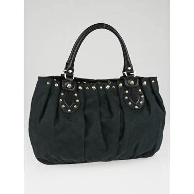 Gucci Black GG Canvas Studded Pelham Medium Tote Bag