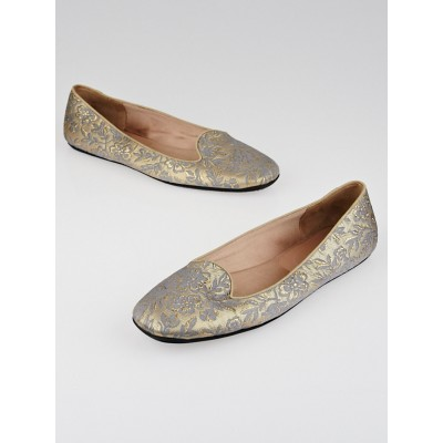 Prada Gold Floral Embroidered Canvas Loafer Flats Size 7/37.5