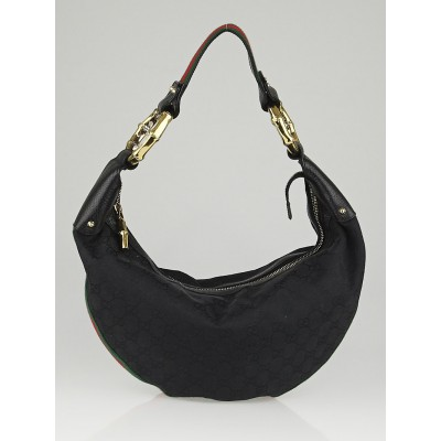 Gucci Black GG Canvas Vintage Web Bamboo Hobo Bag