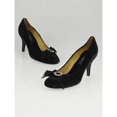 Lanvin Black Velvet Bow Pumps Size 9/39.5