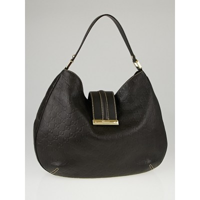 Gucci Dark Brown Guccissima Leather New Web Hobo Bag