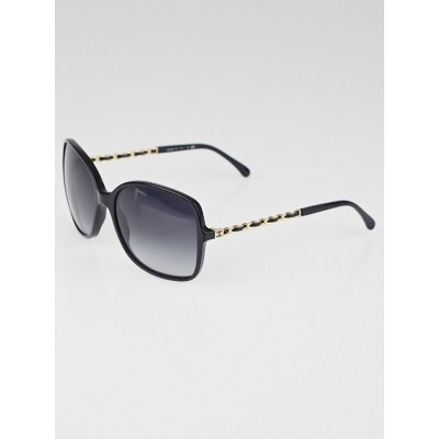 Chanel Black Frame Gradient Tint Chain-Link Sunglasses