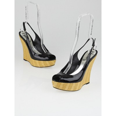 Gucci Black Patent Leather 'Starfish' Raffia Wedges Size 8/38.5