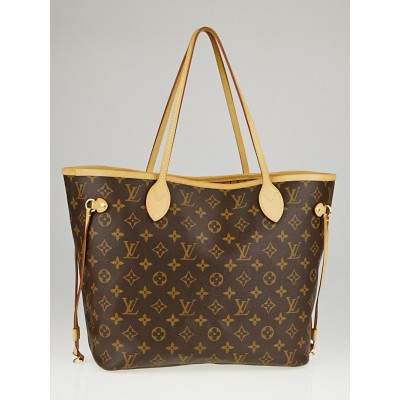 Louis Vuitton Monogram Canvas Neverfull MM NM Bag w/o Clutch