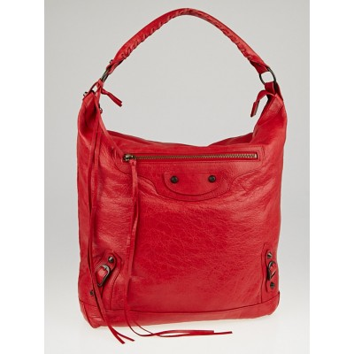 Balenciaga Coquelicot Lambskin Leather Day Bag