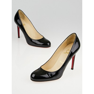 Christian Louboutin Black Patent Leather Simple 100 Pumps Size 8 / 38.5