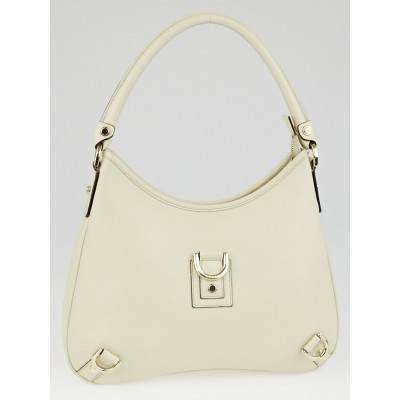 Gucci White Leather Abbey Medium D-Ring Hobo Bag