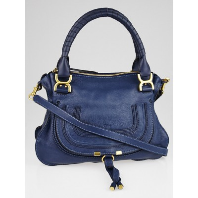 Chloe Royal Blue Pebbled Leather Medium Marcie Satchel Bag