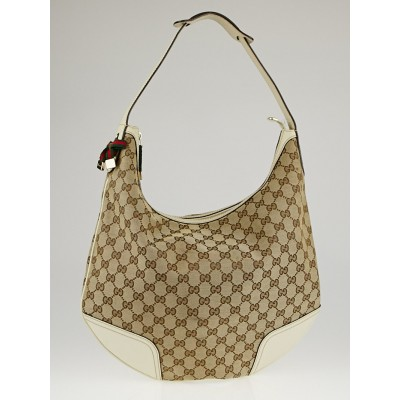 Gucci Beige/White GG Canvas Princy Hobo Bag